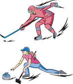 Ice Hockey and Curling — Stock Vector