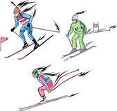 Biathlon and Alpine skiing — Stock Vector