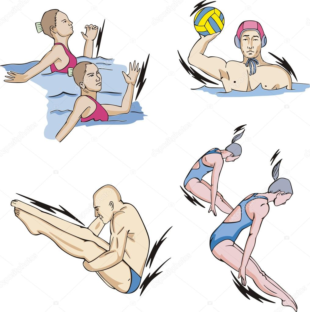 how to draw synchronized swimming