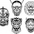 Stock Vector: Japanese Demonic Noh Theatrical Masks