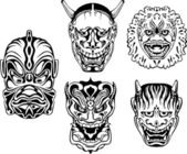 Japanese Demonic Noh Theatrical Masks — Stock Vector
