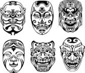 Japanese Nogaku Theatrical Masks — Stock Vector