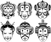 Japanese Tsure Noh Theatrical Masks — Stock Vector