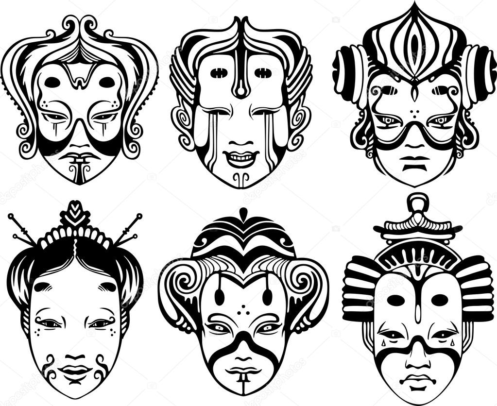 japanische radiotechnischen noh theater masken. Black Bedroom Furniture Sets. Home Design Ideas