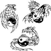 Dragon tattoos with yin-yang signs — Stock Vector