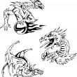 Dragon tattoos — Stock Vector