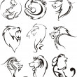 Stylized lion heads — Stock Vector