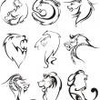 ������, ������: Stylized lion heads