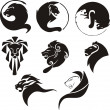 Stylized black lions — Stock Vector #14745659