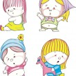 Royalty-Free Stock Vector Image: Funny kids - girls