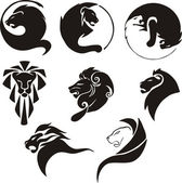 Stylized black lions — Vector de stock