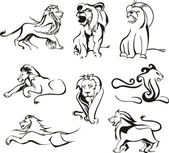 Stylized lions — Stock Vector
