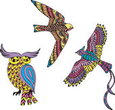 Stylized motley birds — Stock Vector