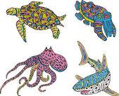 Stylized motley sea animals — Stock Vector