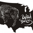American buffalo and U.S. outline map — 图库矢量图片