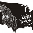 Royalty-Free Stock Vector Image: Cougar and U.S. outline map