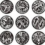 Round dragon designs — Stock Vector