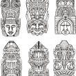 Aztec totem poles — Stock Vector