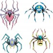 Stock Vector: Symmetrical spiders