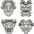 Aztec monster totem masks — Stock Vector #16646457
