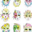 Royalty-Free Stock Vector Image: Women in Venetian carnival masks