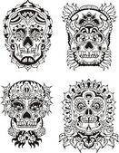 Floral skulls — Stock Vector