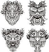 Aztec monster totem masks — Stock Vector