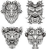 Aztec monster totem masks — Stock Vector