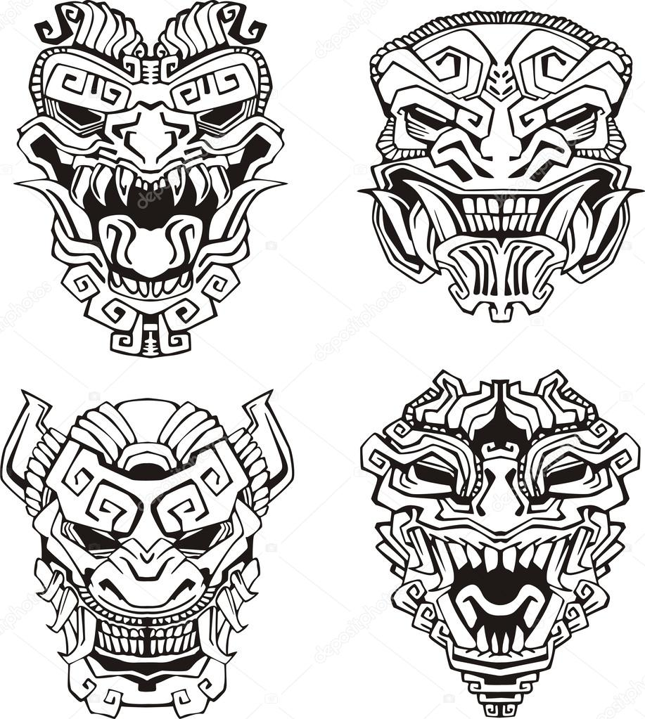 Aztec monster totem masks stock vector rorius 16646499 for Aztec mask template