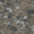 Background of miscellaneous nickel coins — Stock Photo