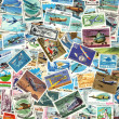 Airplanes and aviation - background of postage stamps — Stok fotoğraf
