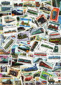 Trains and steam engines - background of postage stamps — Stock Photo