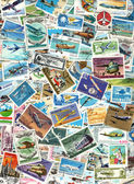Airplanes and aviation - background of postage stamps — Stock Photo