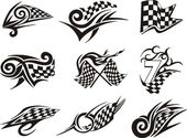 Set of racing tattoos with checkered flags — Stock Vector