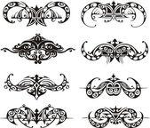 Symmetrical tribal vignettes — Stock Vector