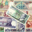 Background of old Turkish lira banknotes - Stock Photo