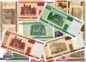 Background of Belarusian ruble banknotes — Stock Photo