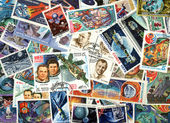 Space - background of USSR postage stamps — Stock Photo
