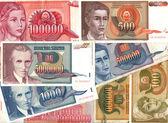 Hyperinflation of Yugoslavian dinar banknotes — Stock Photo