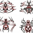 Royalty-Free Stock Vectorafbeeldingen: Black and red symmetric spider tattoos