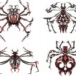 Stock Vector: Black and red symmetric spider tattoos