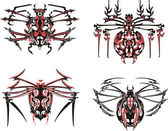 Black and red symmetric spider tattoos — Stock Vector