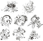 Stylistic decorative flower elements — Stock Vector