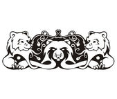 Stylized symmetric vignette with bears — Stock Vector