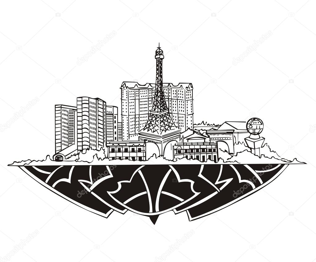 Las Vegas, NV Skyline. Black and white vector illustration EPS 8. — Stock Vector #18778251