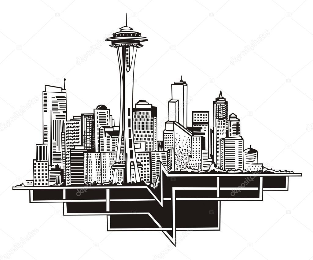 Seattle wa skyline stock vector 169 rorius 18778385