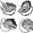 Decorative templates with dragon heads — Stock Vector #20426499