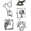 Sketches of animals - dogs and wild cats — Stock Vector