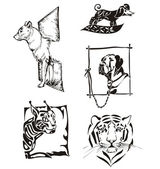 动物-野生猫和狗的剪影 — 图库矢量图片