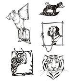 Schizzi di animali - cani e gatti selvatici — Vettoriale Stock